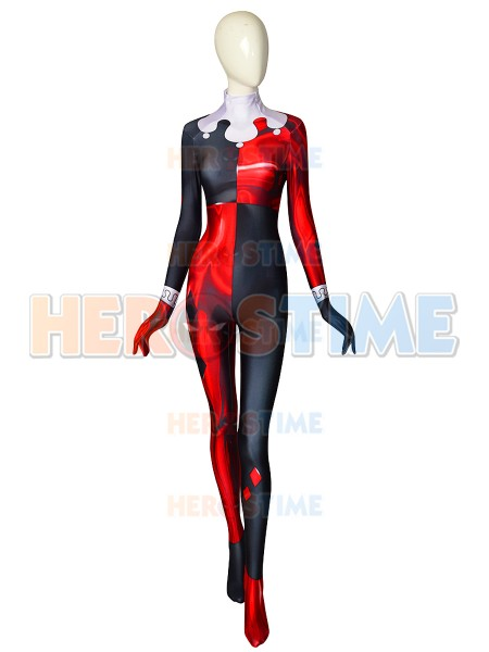 Classic Harley Quinn Super Villain Costume 3D Printed Cosplay Spandex Zentai Suit No MASK For Girl