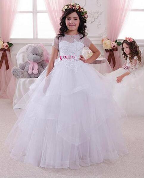 Fashionable White Ivory Jewel Neckline Ball Gown Flower Girl Dresses Lace Appliques Girls Pageant Dress Communion Gown все цены