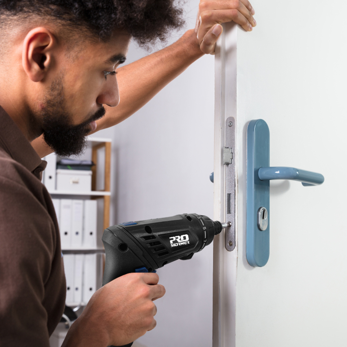 Prostormer Cordless Screwdriver works great on doors