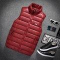 New 2016 Autumn Men Top Cotton Down Vest Short Design Thin Vest Teenager Fashion Solid Color Zipper Down Vests