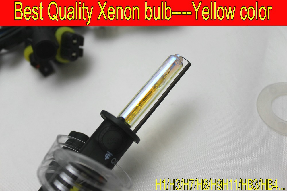 Free Shipping 2PCS Best Quality HID 35W Replacement Xenon Bulb For Car Lamp / Headlight H1 H3 H7 H8 H9 H11 HB3 HB4 3000K Yellow