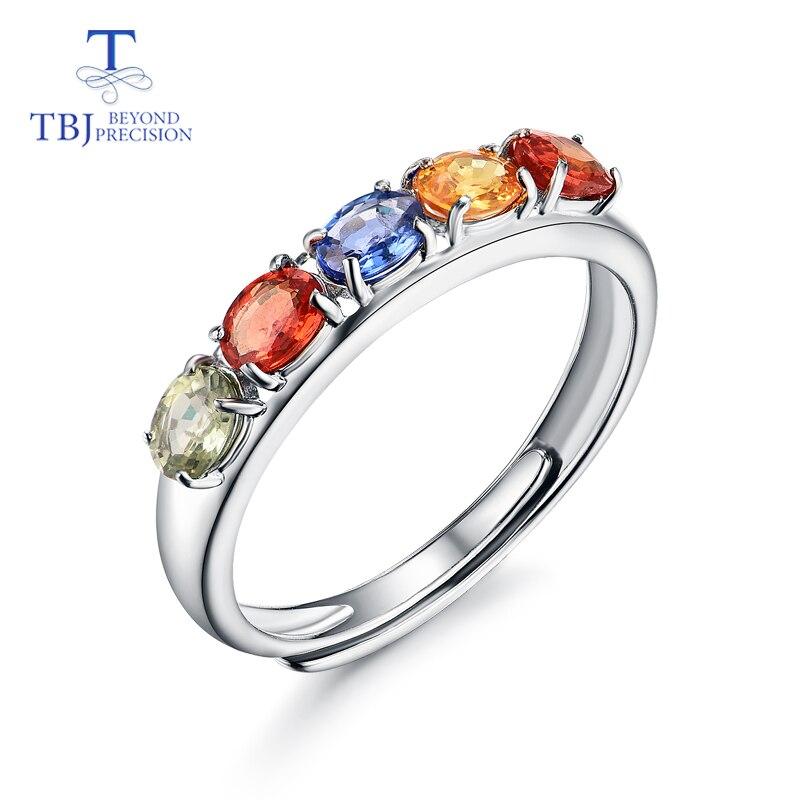 Pierre gemme naturelle fantaisie saphir ovale 3*4mm anneau simple style de loisirs et bonne fabrication 925 bijoux en argent sterling pour fille