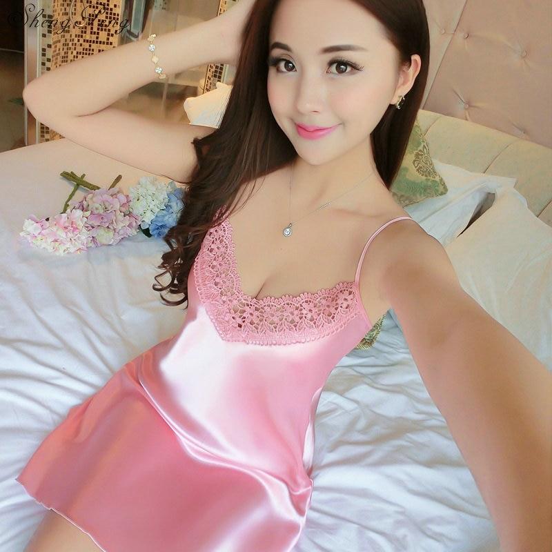 2018 autumn sexy satin night dress women big silk   nightgown   women lace lingerie nightdress sleeveless nightie   sleepshirts   V1157