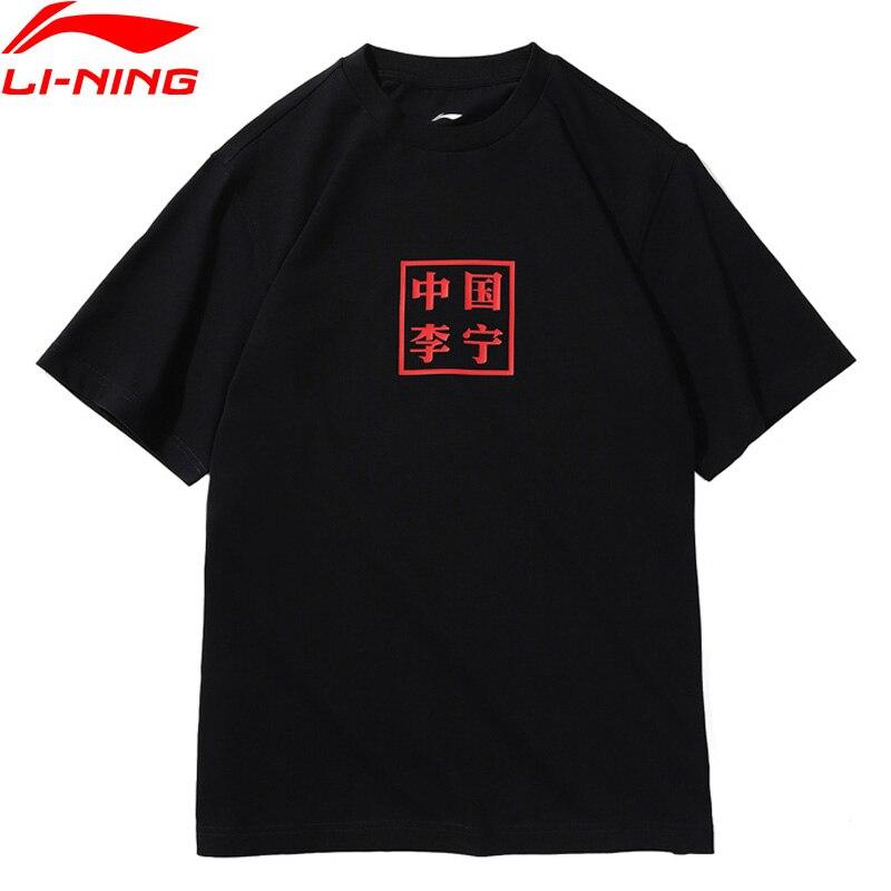 Li-Ning PFW Men The Trend T-Shirt China Li-Ning Printing 100% Cotton Loose Fit Breathable LiNing Sports Tee Tops AHSN901 MTS2882 стоимость