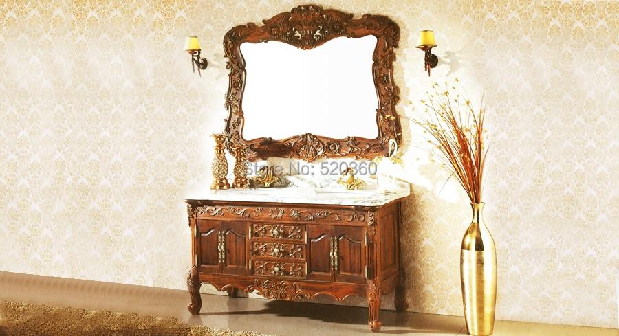cherry oak, green marble cabinet and mirror, Bathroom Vanities