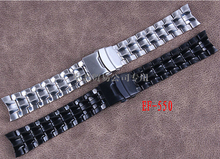 Promoción 22 mm nuevo negro alta calidad pulido Stainless Steel Watch Band correa cierre desplegable hebilla para marca EF-550