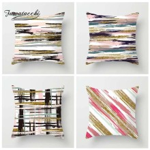 Fuwatacchi Gradient Striped Printed Cushion Cover Geometric Pillow Multi Color Decorative Pillowcase for Home Sofa