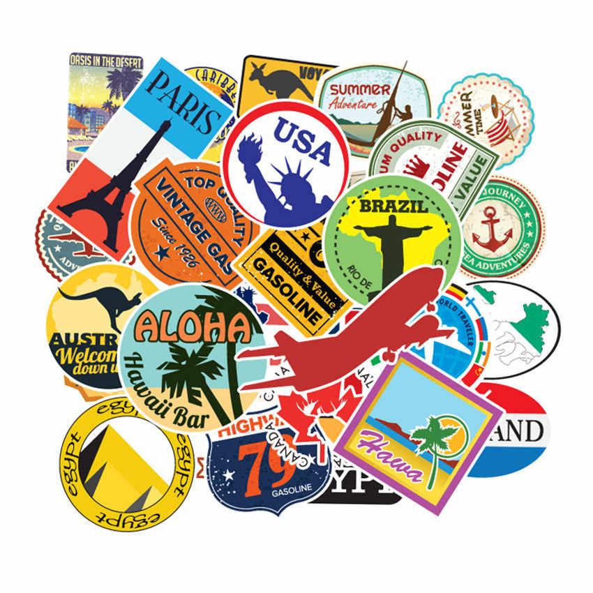 100 Pcs/set Travel Map Country Famous Logo PVC Waterproof Stickers Kids Toys Decor Suitcase Bicycle Car Guitar Skateboard