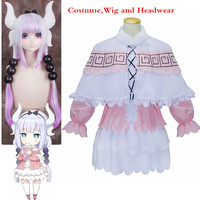 Nieuwe Anime Kobayashi san Chino Maid Dragon Cosplay Hoofddeksels Pruik en Kostuums Miss Kobayashi's Dragon Maid Kanna Kamui Roze jurk