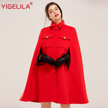 YIGELILA Latest Autumn Women Vintage Turtleneck Batwing Sleeve Covered Button Red Wool Cape Coat Poncho Cloak 94750(China)