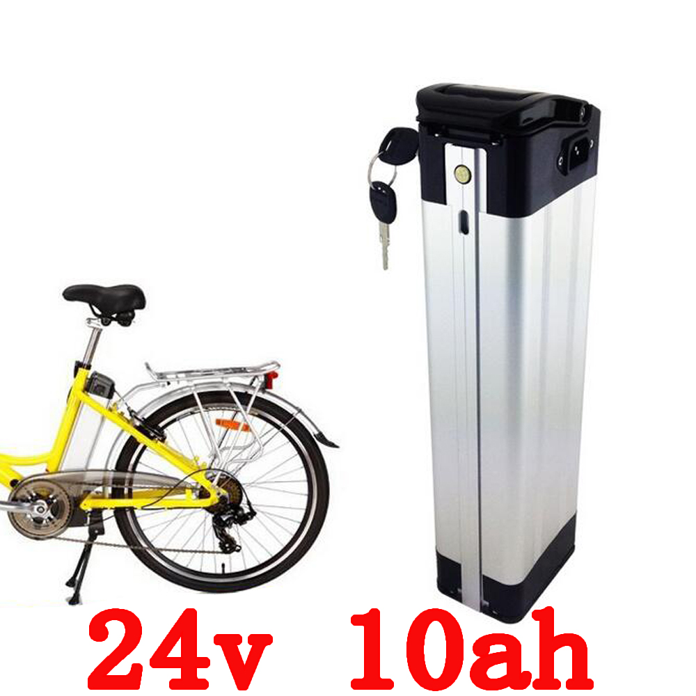 New 24V 10AH silver fish ebike battery Lithium Ion Battery for Electric Bike,rechargeable battery with BMS and charger liitokala 7s5p new victory 24v 10ah lithium battery electric bicycle 18650 24v 29 4v li ion battery no contains charger