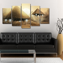 Artwork Egyptian Pyramids Space Ship UFO Abstract Landscape Pictures for Office Bedroom Wall Decor Poster Art Canvas Prints