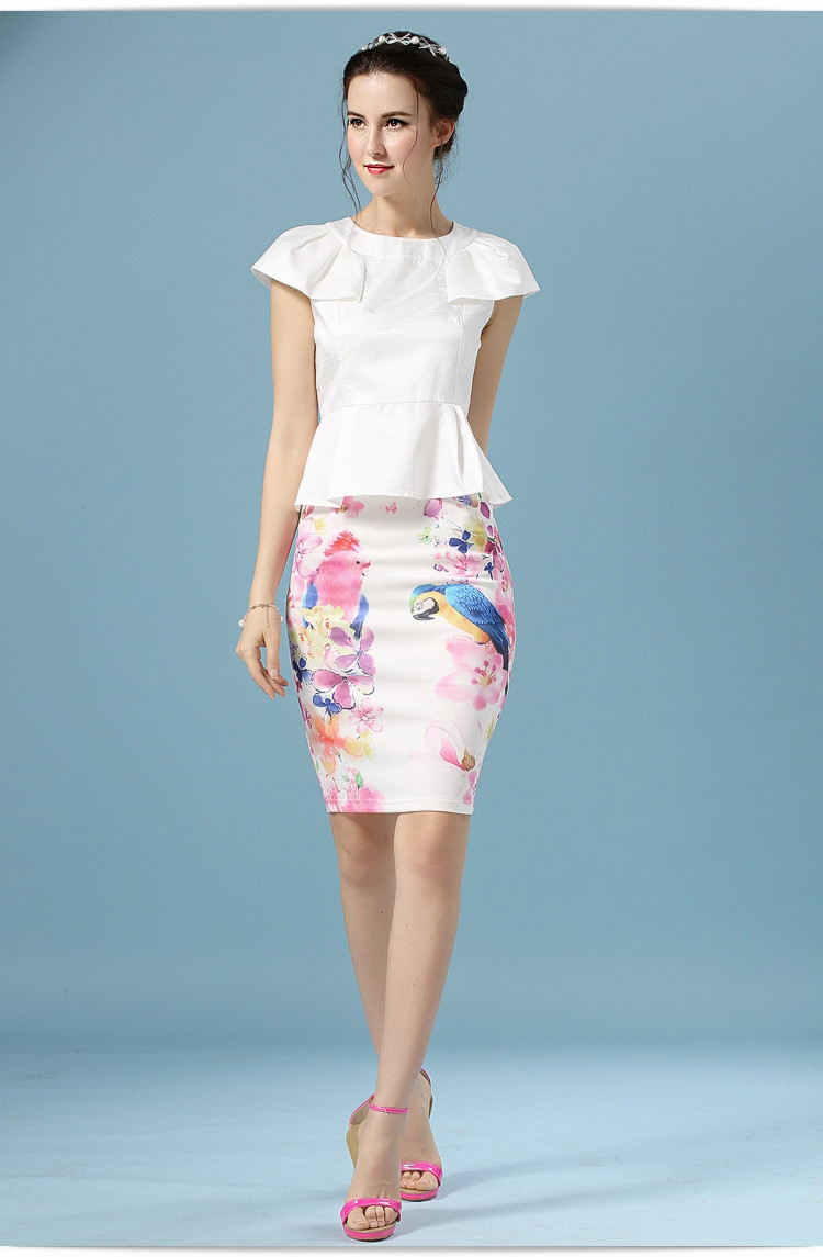 Elegant Office Pencil White Floral Bird Print High Waisted Skirt 11