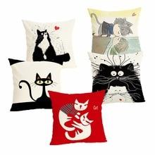 Cute Cat Cushion Case Decorative Cushion Cover 45x45CM Cotton Linen Square Throw Pillow Cover Decorative Pillow Case цена