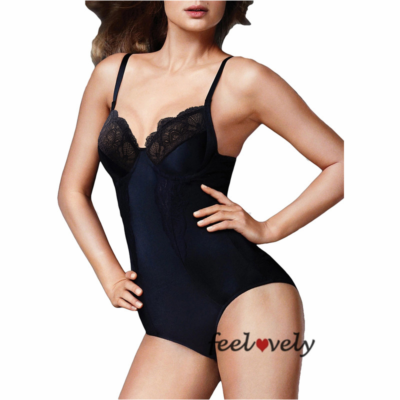 Black Lace Molded Cup Slimming Bodysuit Body Shaper Underwired Padded Seamless Push Up body Shaper Plus Size Control Bodysuit