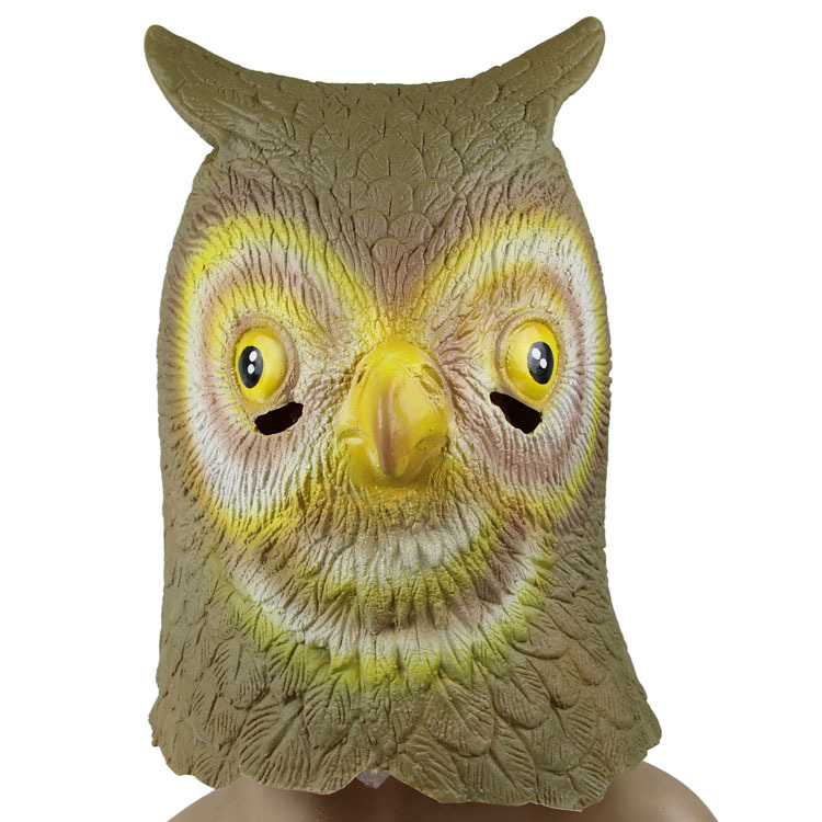 Hot selling latex full head king pretty vivid rubber owl mask