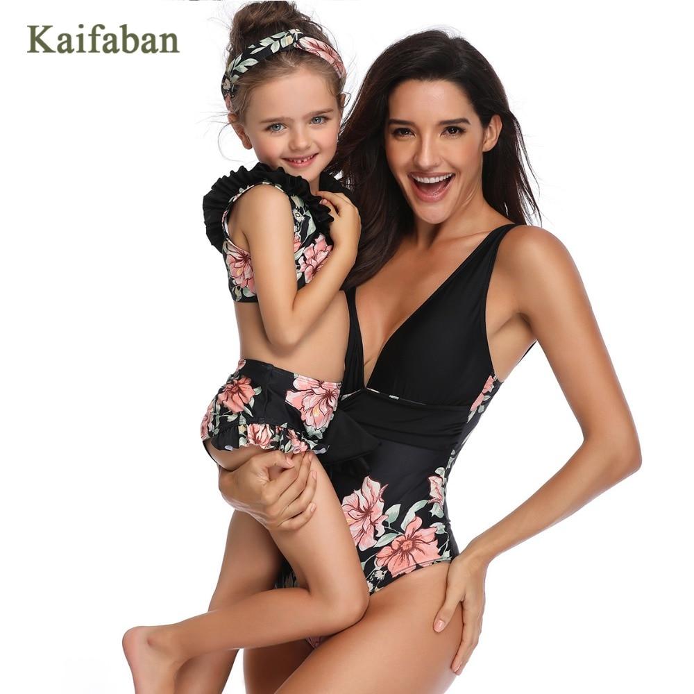 2019 Girl Women Kawaii Retro Print High Waist Flounces Bikini Swimsuit Swimwear Mother Daughter Ruffle Maillot