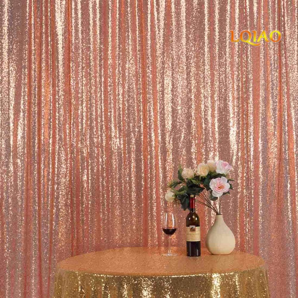9FT*9FT Rose Gold Shimmer Sequin Fabric Backdrop Sequin Curtains Wedding Photo Booth Photography Backdrops for Party Decoration