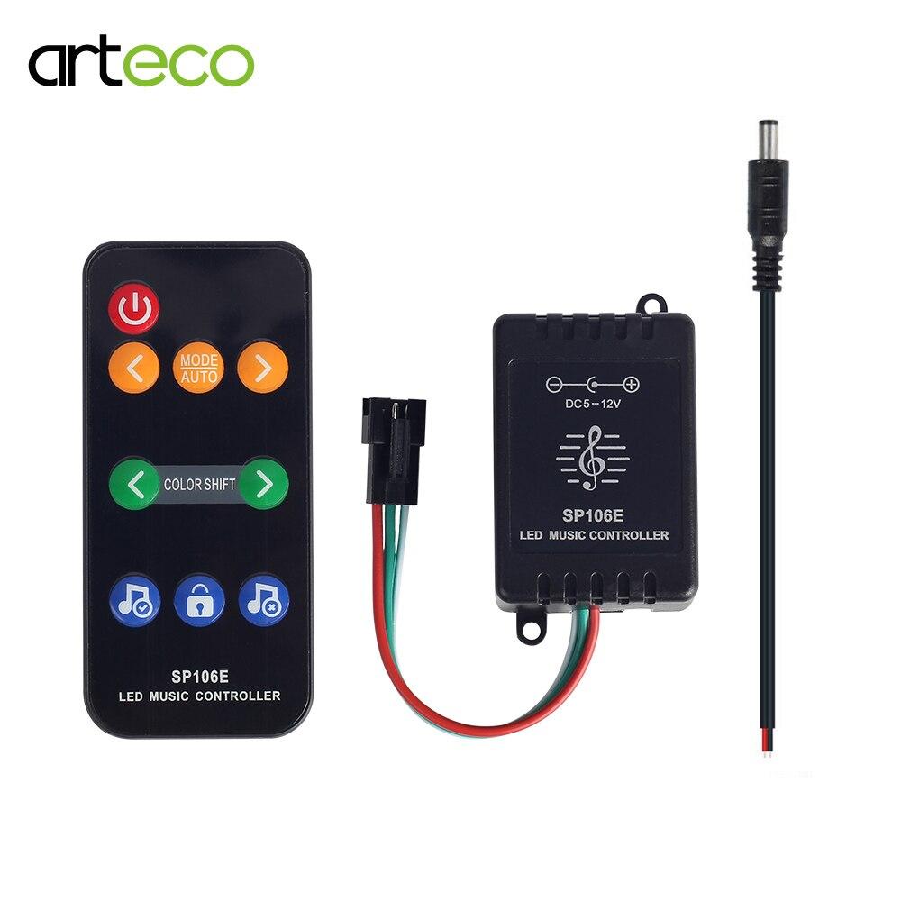 SP106E 9Key IR LED Magic Music Controller DC5V DC12V For WS2811 WS2812B 1903 SK6812 16703 RGB LED Strip Pixel Lights Control