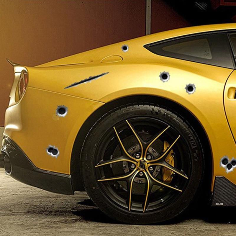 1 piezas SEEYULE Bullet hole Car Sticker car-styling 3D Shoot Hole - Accesorios exteriores para automóviles - foto 2