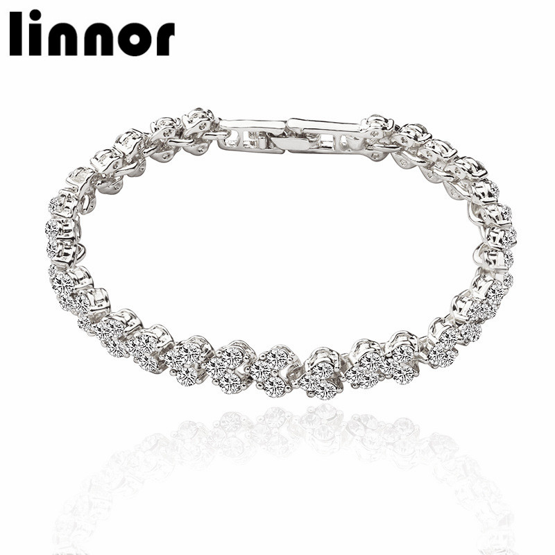 Linnor Exquisite Luxury Roman Crystal Bracelet for Women Full Inlay Zircon Charm Bangle Braslet Pulseras Feminina Jewelry