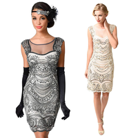Sexy 1920s Flapper Fancy Dress Roaring 20s Party Gatsby Dress Costume Sleeveless Perspective Vintage Beaded Sequin Dress Vestido