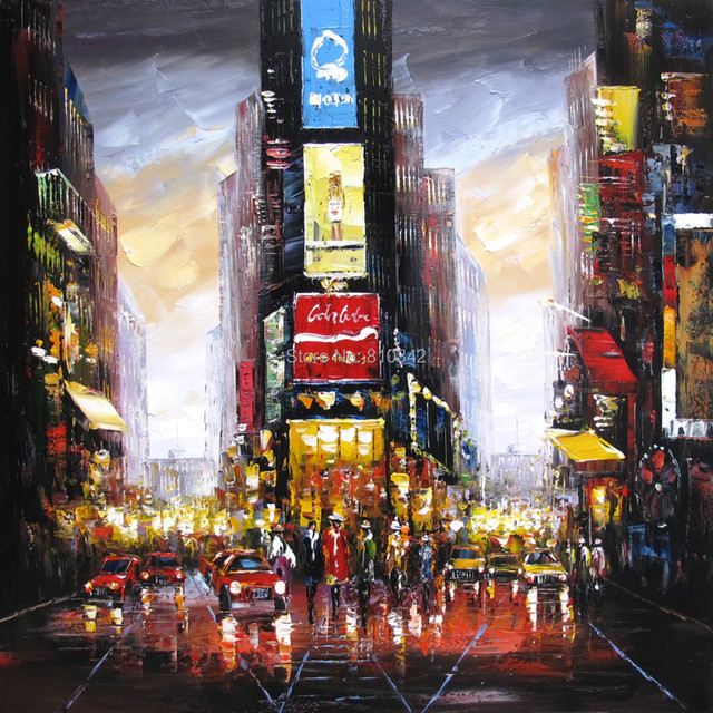 City New York Oil Painting On Canvas Wall Art For Living: Palette Knife Oil Painting Modern Handmade Oil On Canvas