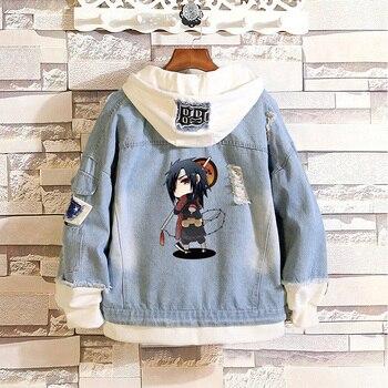 Fashion Anime Hokage Madara Uchiha Gunbai Layered Denim Jackets Ribbed Long Sleeve Frayed Hooded Jean Jacket Cowboy Tops Coat