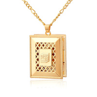 Fashion Locket Pendant For Men Women Free Shipping 18K Real Gold Plated Metal Choker Necklaces Pendants