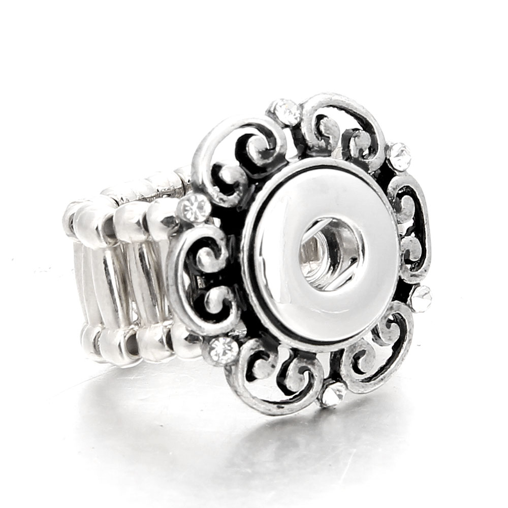 Xinnver Snap Jewelry Antique Silver 12MM Snap Rings Adjustable Elastic Ring fit 12MM Snap Jewelry Rings