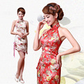lady sexy backless pink strapless halter satin cheongsam qipao dresses gown slim sleeveless vintage short plus size xxl 2016 new