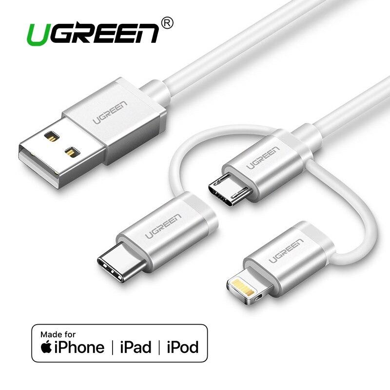 Ugreen 3 in 1 Blitz USB Kabel Für iPhone 8 7 Micro USB Kabel Schnelle Lade USB Typ C für oneplus 5 Samsung Galaxy S8 LG V3