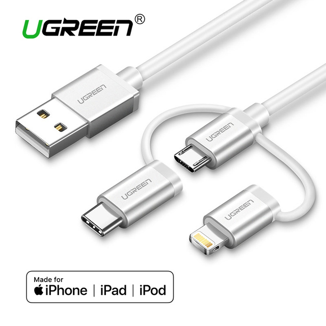 hot sale online 57a5c 69c13 US $13.74  Ugreen 3 in 1 Lightning USB Cable For iPhone 8 7 Micro USB Cable  Fast Charging USB Type C for Oneplus 5 Samsung Galaxy S8 LG V3-in Mobile ...