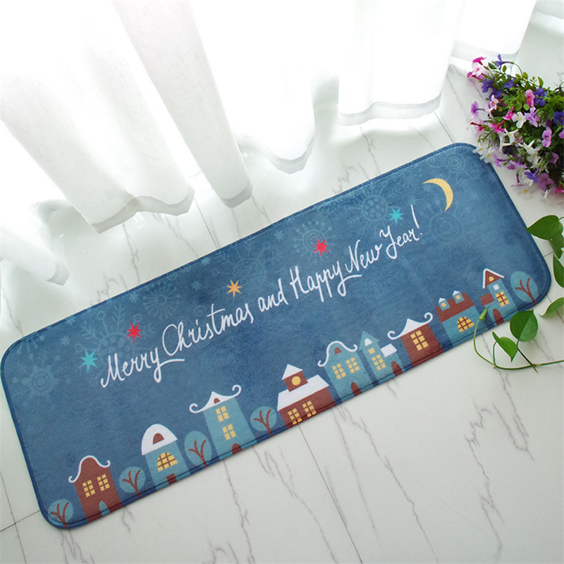 Home Rug Christmas Carpet Blue Kitchen Rugs Antislip Floor Mat Santa Claus  Bed Rug 40*