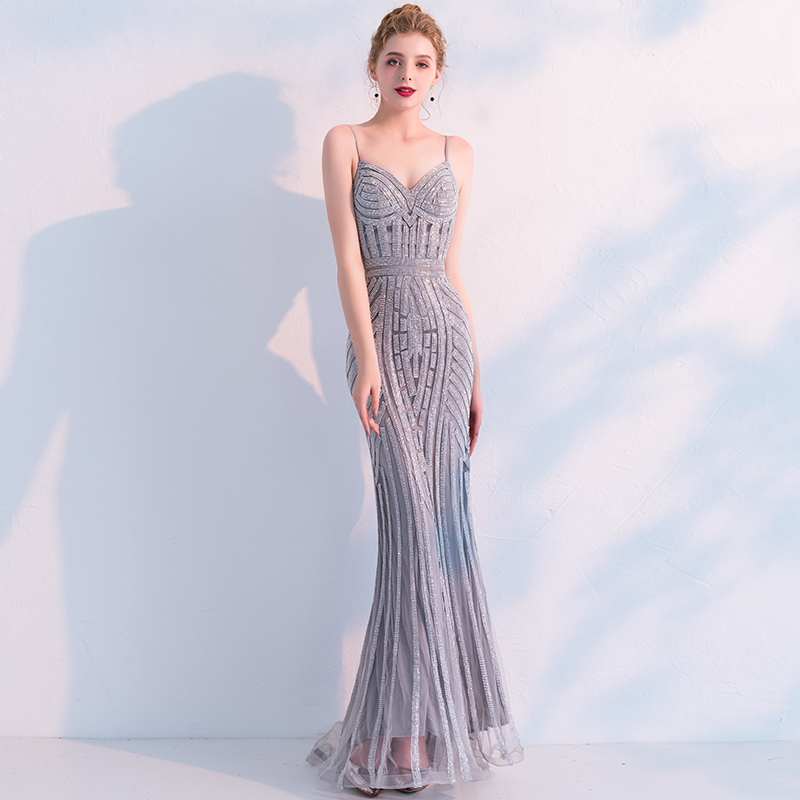 5f9ca2fa Sexy Spaghetti Strap Backless Mermaid Robe De Soiree Luxury Beading Formal  Long Evening Dresses Prom Party