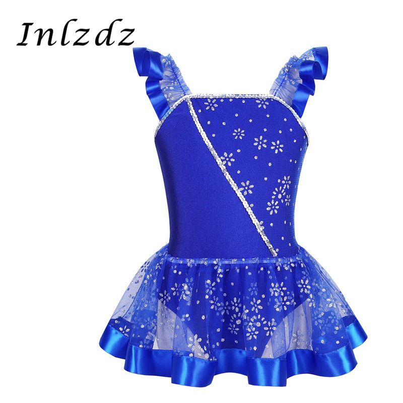 inlzdz Girls Two-Piece Ballet Dance Gymnastics Outfits Crop Tops Bra with Wrap Tutu Skirt Jazz Lyrical Dancewear Costumes