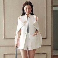 Spring Runway Designer Women Beadinged Diamond Cape Blazer Sexy Black White Ruched Coats White Blazer Cape Office Wear