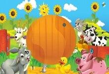 Laeacco Baby Cartoon Happy Birthday Party Farm Grass Animals Banner Photographic Backdrops Photography Backgrounds Photo Studio