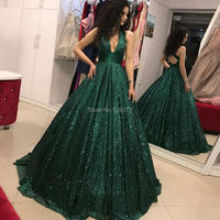 YNQNFS PD5 Sexy Backless Halter Deep V Neck Bling Sequins Prom Dresses Long 2019 Emerald Green