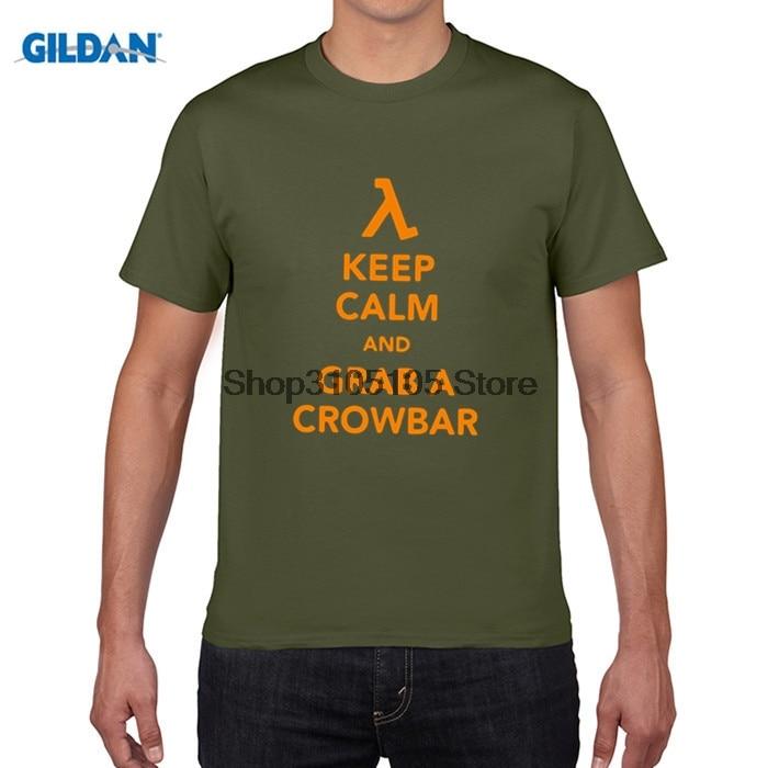 GILDAN funny men t shirt FPS Classic Game HALF LIFE Men T shirt Keep Calm Grab A Crowbar Boy Letters Printed Short Sleeve Tees