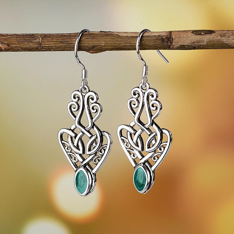 Antique Boho Green Eye Stone Women Small Dangle Earrings Hollow Out Earring Ethnic Vintage Indian Jewelry