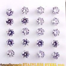 Boucles d'oreilles luxueuses en acier inoxydable, 10 paires de cartes en cristal bleu clair de forme ronde, bijoux, vente en gros, 2020