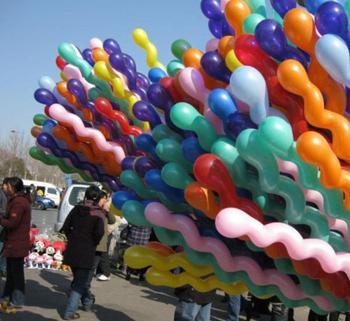 5000pcs/lots Long spiral Latex screw Balloons for Festival Party Decoration (Random send various colors) Free ship