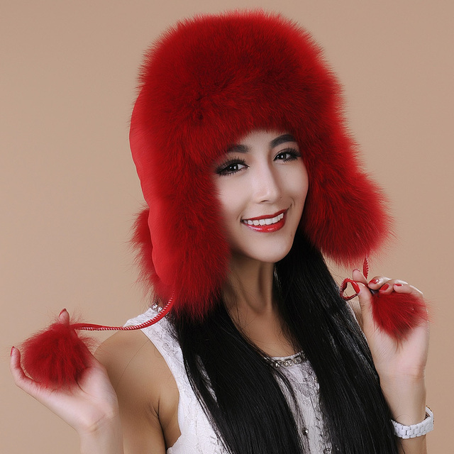 new fashion lady winter genuine fox fur hat women's ear protector warm thermal cap best Christmas gift