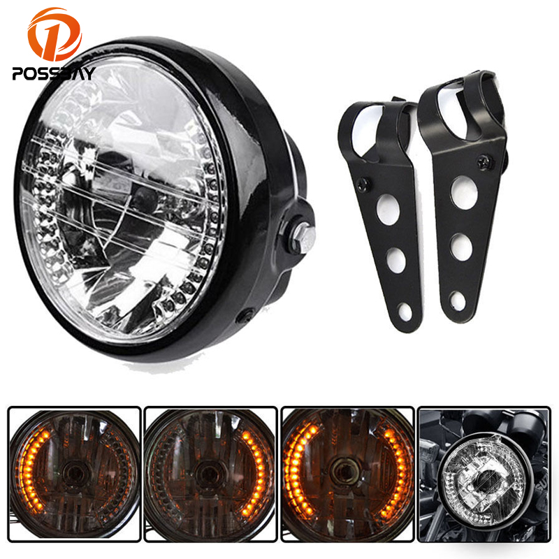 POSSBAY 6.5 Motorcycle Headlight Turn Signal Indicator Blinker Light With Bracket Universal for Harley Suzuki Yamaha Cafe Racer
