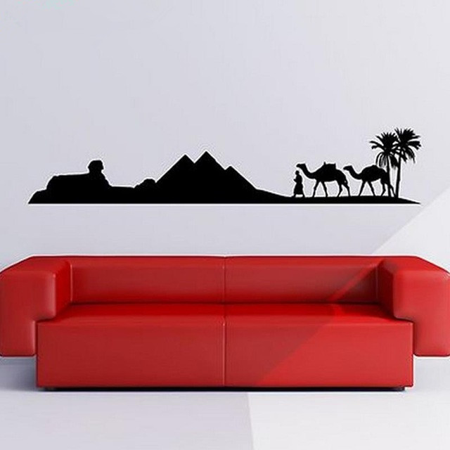 Egypte Piramide Skyline Camel Zand Muursticker Art Sticker - Huisdecoratie