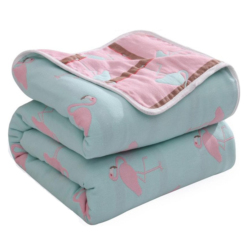 Newborn Summer 90X100cm Baby 100% Cotton Blankets 6 Layers Quilt Flamingo Muslin Wrap Swaddle Stroller Baby Blankets