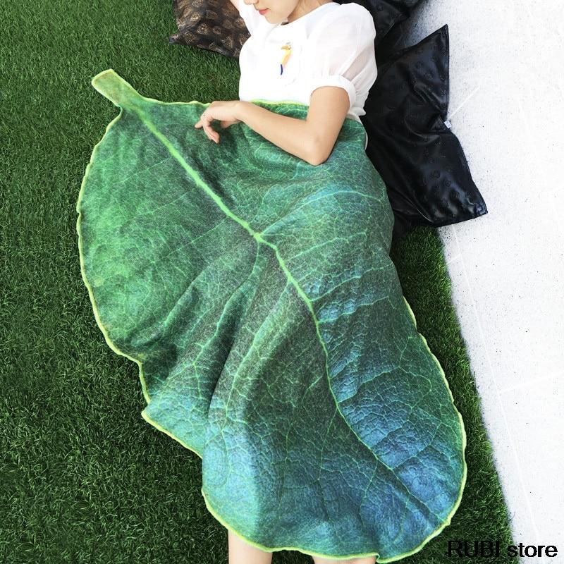 1 Piece Flannel Soft Plant Leaf Blanket Plush Air Conditioning Blankets Bedding Throws Bedsheet Sofa Cover Simulation 3D Design arnigu brief style soft blanket bedding sofa throws 120x200cm 150x200cm 180x200cm 200x230cm winter bedsheet leisure blankets