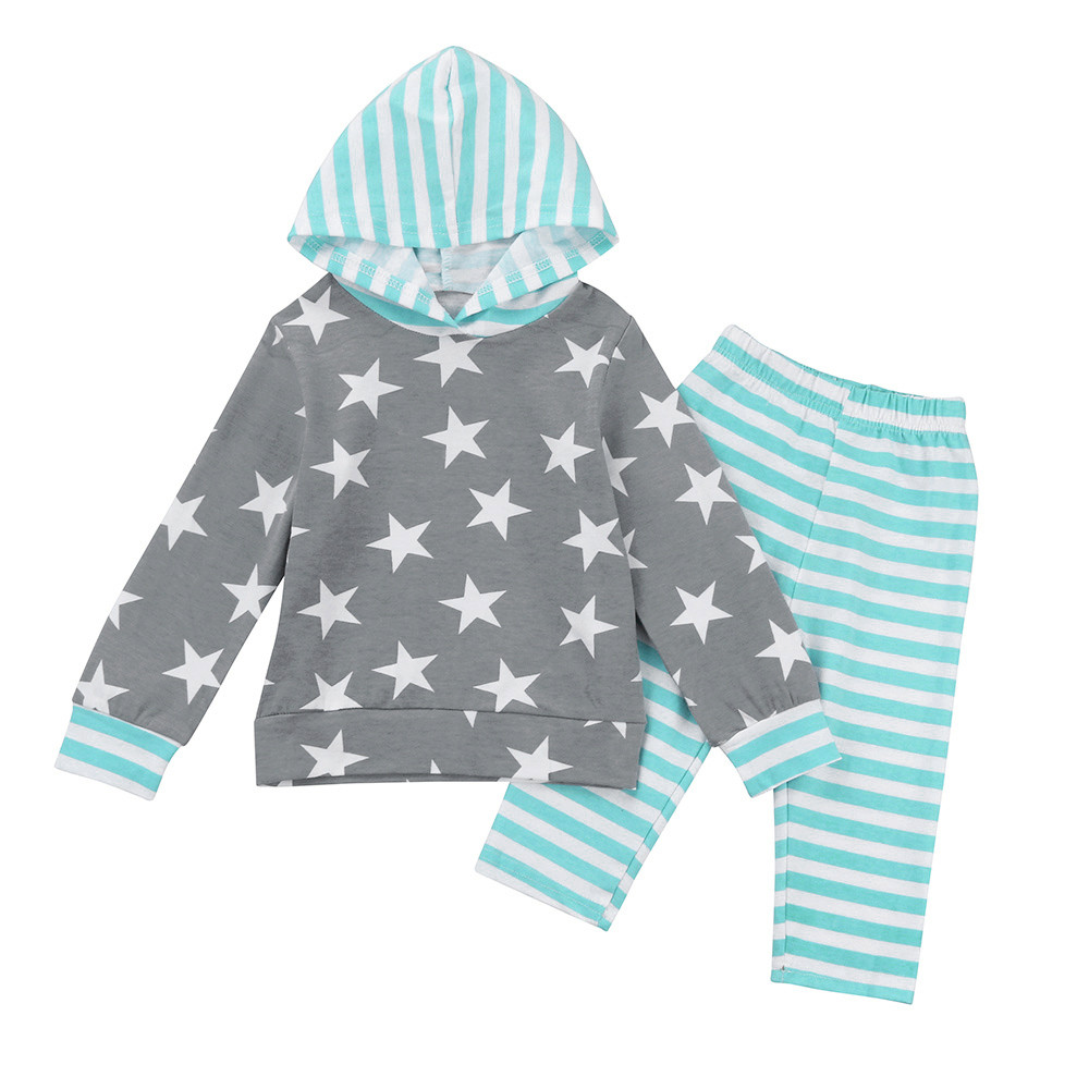 2pcs Toddler Baby Boy Girl Clothes Set Star Print Hoodie Tops Pants Outfits conjunto infantil menina baby girl winter clothes