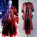 Devil May Cry 4 DMC4 Данте Косплей Костюм PU кожаные мужские Костюмы Полный Комплект длинный Красный Пиджак + Рубашка + брюки + Пояс